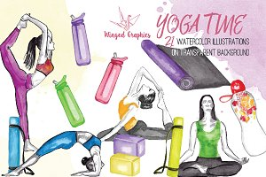 Yoga time watercolor illustrations