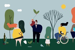 People in nature illustration