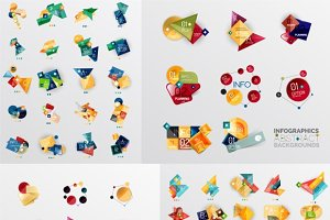 Trendy geometric infographic banners