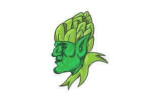 Green Elf Wearing Hops on Head Drawi