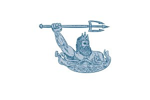 Poseidon Wielding Trident Drawing