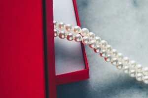 wonderful pearls in a red gift box,