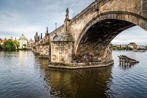 Charles Bridge in Prague against sky