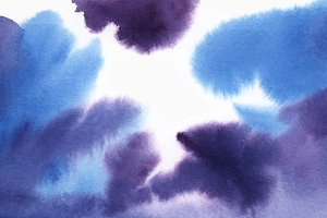 Abstract blue and purple watercolor