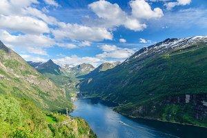Summertime Geirangerfjord valley