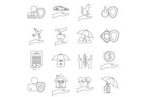 Insurance icons set, outline style