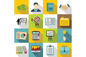 Business plan icons set, flat style