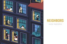 Neighbors illustration by  in Illustrations