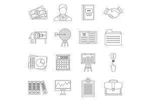Business plan icons set, outline