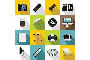 Photo studio icons set, flat style