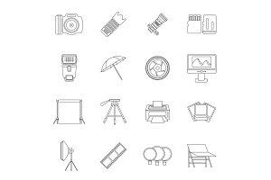 Photo studio icons set, outline