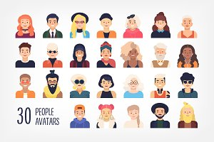 30 people avatars set and seamless