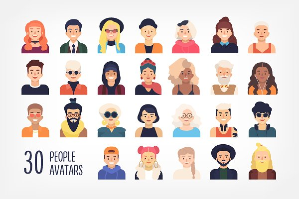 Illustrations: Good_Studio - 30 people avatars set and seamless