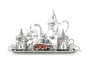 Table setting with silver tableware