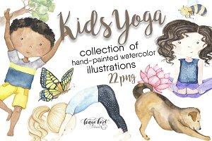 Kids Yoga Watercolor Clip Art