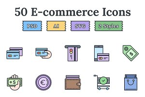 E-commerce – Epic landing page icons