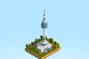 Low Poly N Seoul Tower Landmark