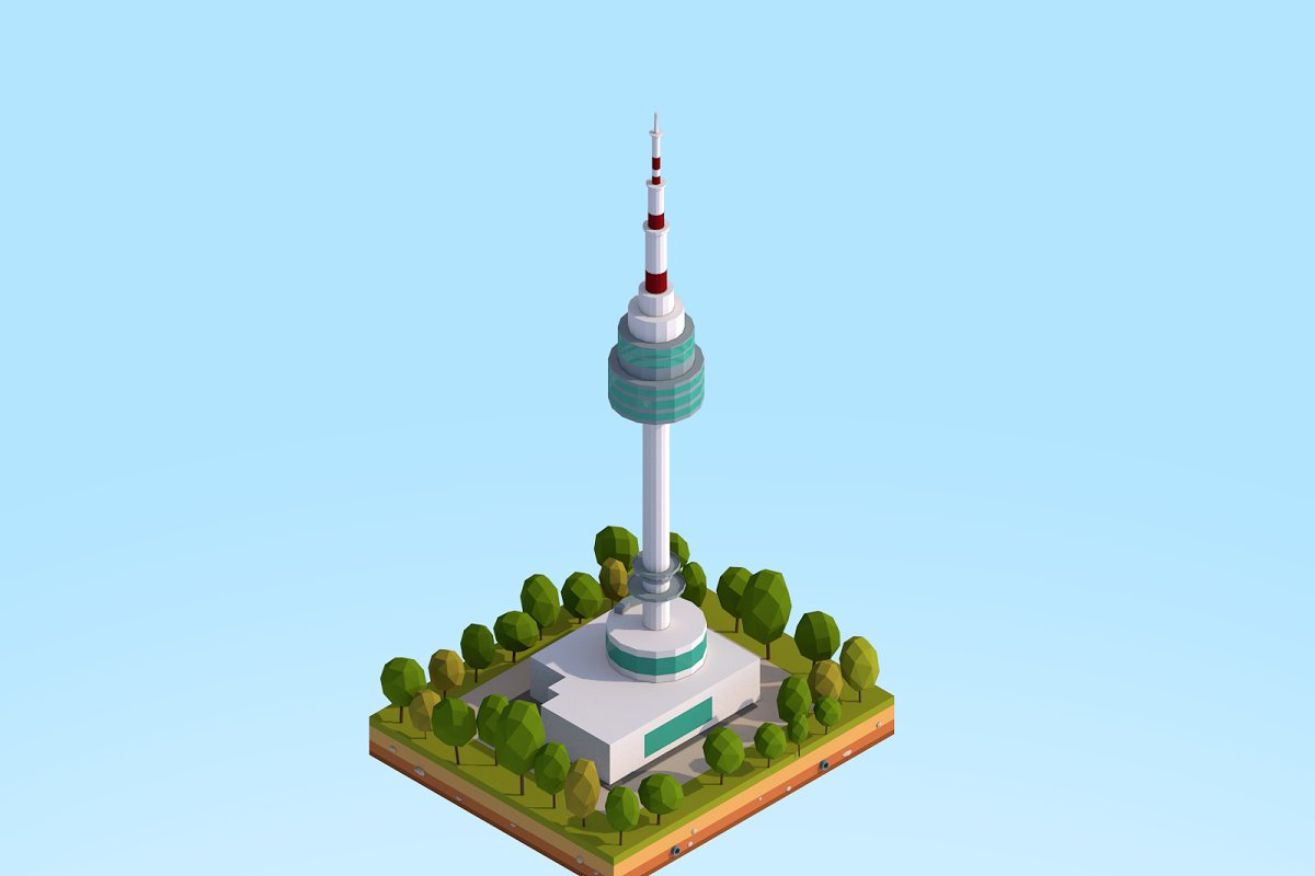 Low Poly N Seoul Tower Landmark