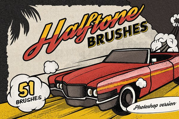 Photoshop Brushes: Pixelbuddha - Vintage Comic Book Halftone Brushes