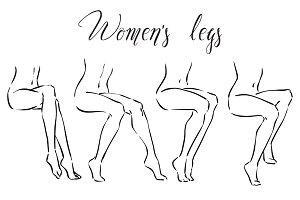 Set of women's legs.  Icons