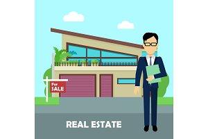 Real estate broker at work. Building