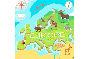 Europe Isometric Map with Flora and