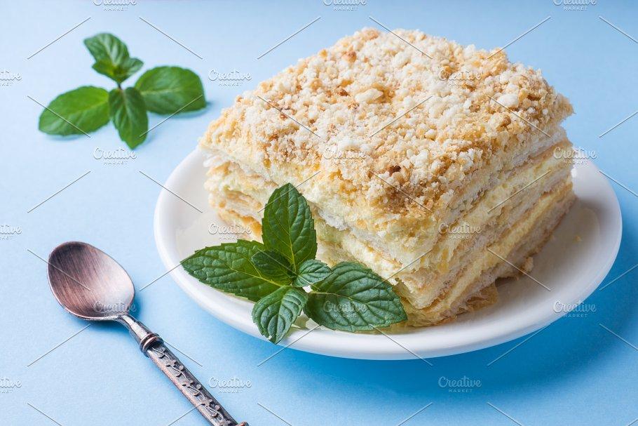 Layer Cake With Cream Napoleon Food Images Creative Market