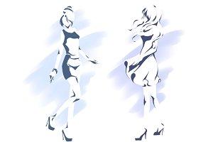 Outline silhouette of slender girl