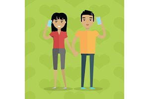 Talking on Phone Vector Concept in