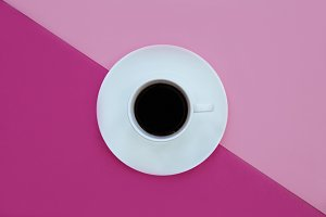 Coffee cup pink background