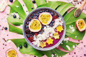Smoothie acai bowl served in bowl on
