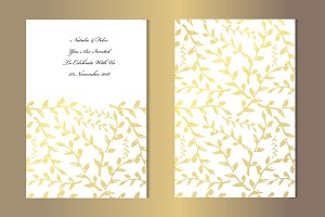 Golden Leaves Card Template