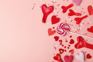 Paper valentines day hearts with swe