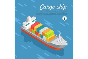 Cargo Ship Container Sailing in Sea