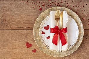 Festive table setting for Valentine'