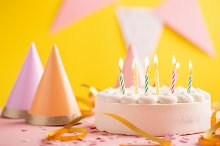 Party birthday background with cake by  in Holidays