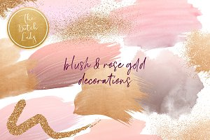 Blush & Rose Gold Decoration Clipart