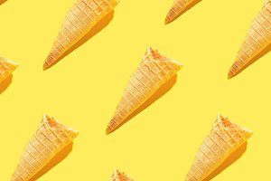 Ice cream waffle cones in food patte