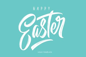 Happy Easter logo template