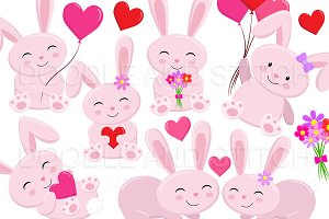 Love Bunny Clipart Illustrations