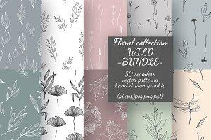 50 Wild flower patterns -Bundle-