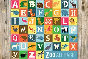 Animal Alphabet. Zoo alphabet.