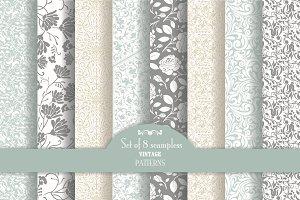 Set of 8 seamless pattern Baroque