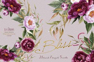 Peonies Flowers Watercolor set