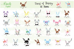 Happy Easter Bunny face Clipart