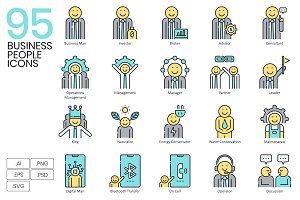 95 Business People Icons | Aqua
