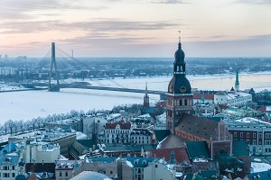 Winter Old town of Riga after sunset