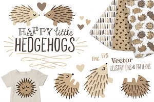 Happy Hedgehogs - Illustration Set