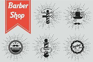 Barber shop retro logos