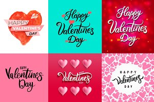 Set of Happy Valentine's day Card.